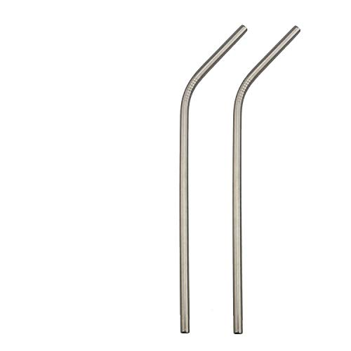 2 Pcs/set Reusable Metal Drinking Straws Stainless Steel Sturdy Drinks Straw for Mugs with Brush,Bend Silver,21.5cm