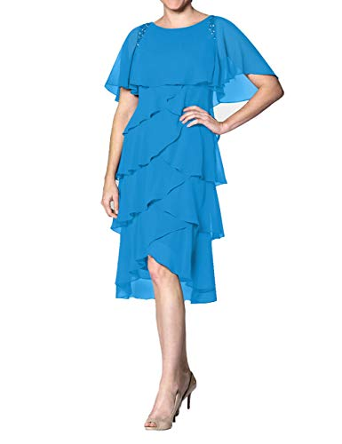 Cdress Chiffon Mother of The Bride Dresses Plus Size Evening Formal Gowns Short Prom Dress Sleeves US 26W Ocean Blue