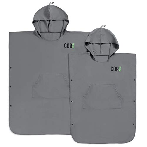COR Board Racks Changing Towel Surf Poncho   Compact and Lightweight Micro-Suede Travel Fabric Dries Fast and Shakes of Sand   Now with Side Buttons to Open up to a Large Beach Towel