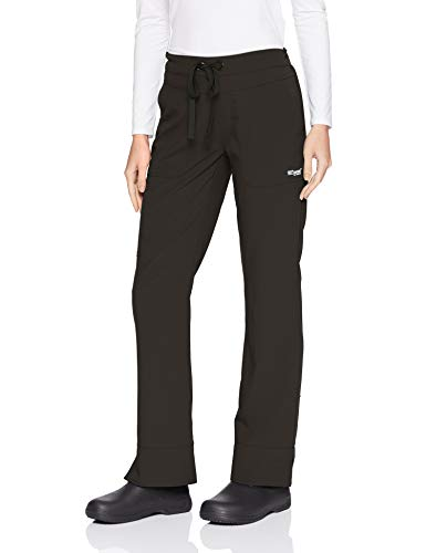 Grey's Anatomy Signature Women's 3 Pocket Low Rise Scrub Pant, Black, Medium Petite