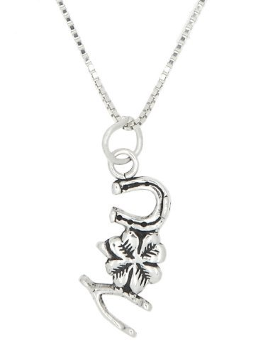 Sterling Silver Oxidized Wishbone Clover Horseshoe Good Luck Charm Pendant with Polished Box Chain Necklace (24 Inches)