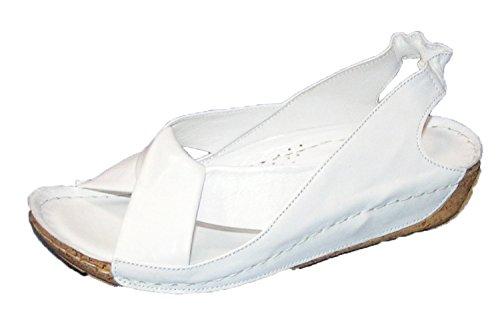 Sandali Donna Gemelli Croce In Pelle Blu 32010 Bianco