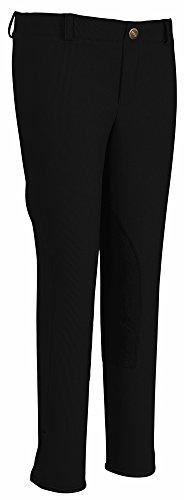 TuffRider Girl's Ribb Lowrise Pull-OnBreech, Black, (Girls Low Rise Fleece Pants)