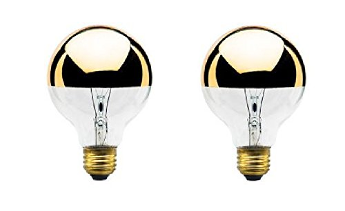 - 40W 120V G25 Globe Bulb, Half Gold, Medium Base (2 Pack)