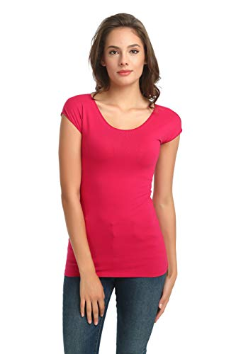 (zhAjh Womens Cotton Spandex Scoopneck Cap Sleeve Tee T-Shirt (Ex-Large, Rose Red))