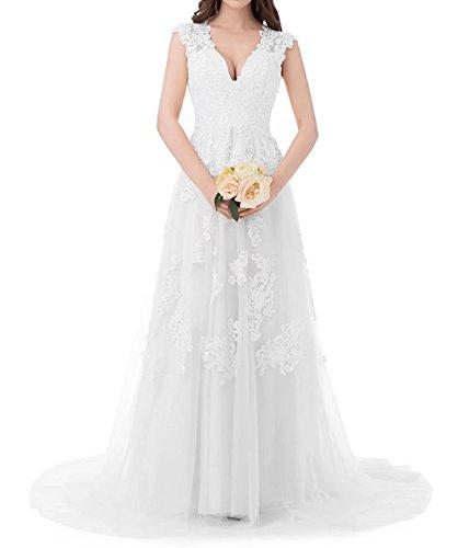 Weiß Abendkleider Spitze Ballkleider Hochzeit Damen Ausschnitt Beyonddress Lang Brautkleid V Brautjungfern Tüll Kleider UFSCn6
