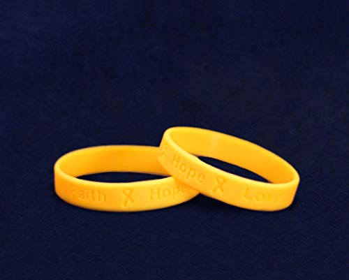 50 Pack Gold Ribbon Awareness Silicone Bracelets (50 Adult Bracelets In a Bag) by Fundraising For A Cause (Image #2)