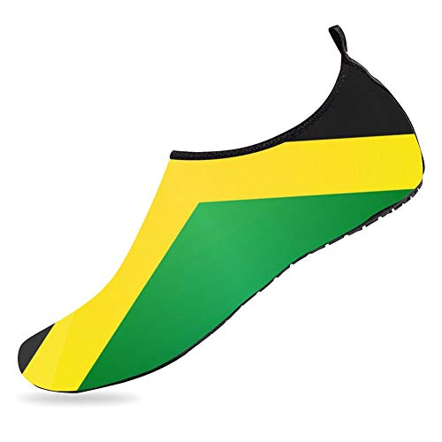 (Quick-Dry Aqua Socks Barefoot Water Sports Shoes for Women Men Flag Jamaica Swim Barefoot Beach Yoga)