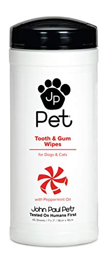 "John Paul Pet Tooth and Gum Pet Wipes for Dogs and Cats, Infused with Peppermint Oil, 7"" x 7"" Sheets in 45-Count Dispenser"