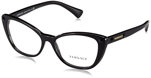 Versace VE3222B Eyeglass Frames GB1-54 - Black - Designer Cat Eyeglasses Eye