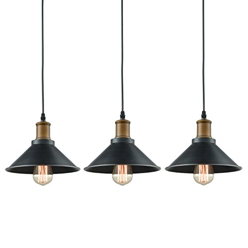 Dazhuan Ceiling Light 3-Lights Pendant Metal Hanging Kitchen Farmhouse Industrial Lighting Fixture 3 (Country Pendant Island Light)