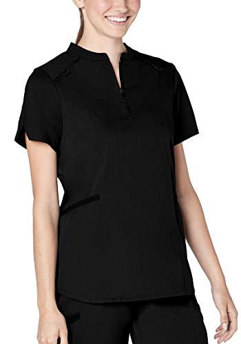 Adar Responsive Scrubs for Women - Active Stand Collar Scrub Top - R6002 - Black - 2X