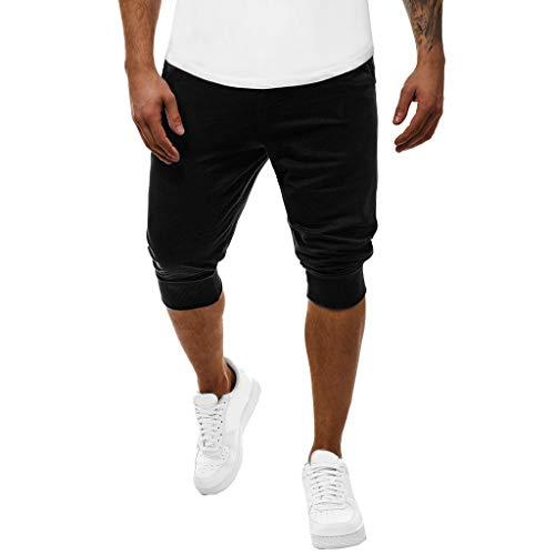kemilove Men's Cotton Casual Shorts 3/4 Jogger Capri Pants Breathable Below Knee Short Pants with Pockets Black