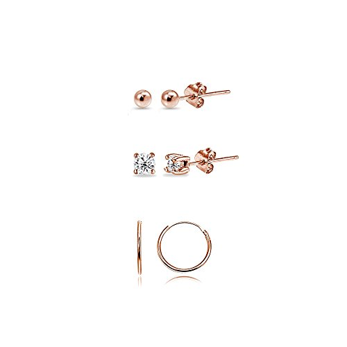- 3 Pairs Rose Flash Sterling Silver 10mm Endless Hoops 2mm CZ & Ball Stud Unisex Cartilage Earrings Set