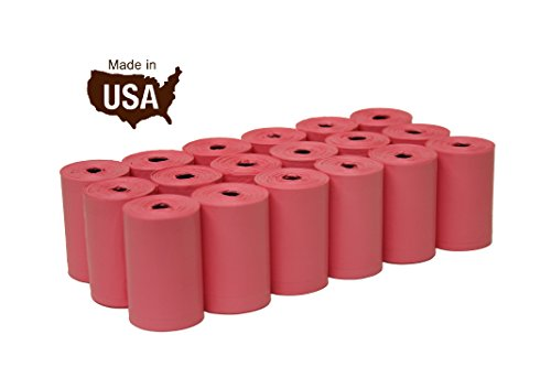 FiveStarPet 9 x 14.25 Dog Waste Bags with Dispenser, 18 Refill Rolls, 270 Count, Pink