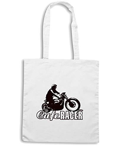 Shopper CAFE VINTAGE BIKER Bianca VINTAGE RACER Borsa TB0171 MOTORCYCLE dq4ntFwdHx