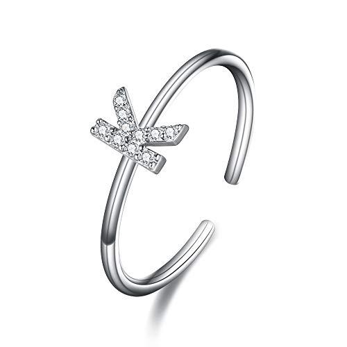 - EleQueen Letter K Women's 925 Sterling Silver 26 Alphabet Mini Dainty Letter Rings Birthday Gift