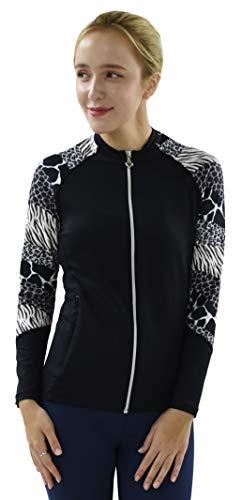 Private Island Hawaii Women UV Wetsuits Long Raglan Sleeve Rash Guard Top Zipper Jacket Pocket Outdoor/Yoga (XXX-Large, BWA) (Ladies Wet Suits)