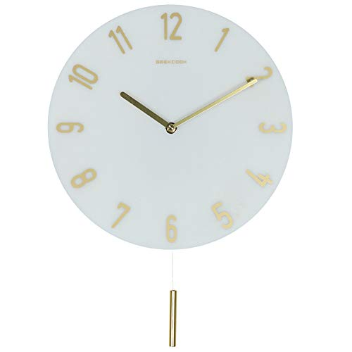 (JIANGYE Pendulum Wall Clock Silent Non Ticking Marble Swing Modern Wall Clocks Battery Operated for Living Room Bedroom Kitchen Office Large Stylish Decorative,Whitenumbers)