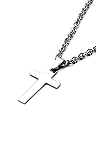 Elekut - Collar cruzado para hombre - Cadena de plata de acero inoxidable para hombres - Cadena de plata para hombre Collar con colgante de cruz simple de acero inoxidable para hombres y mujeres 18 20 22 24 26 28 pulgadas