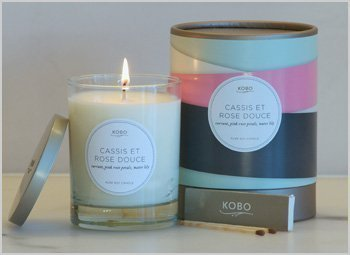 Cassis Candle - KOBO Ribbon Botanical Candle Cassis et Rose Douc