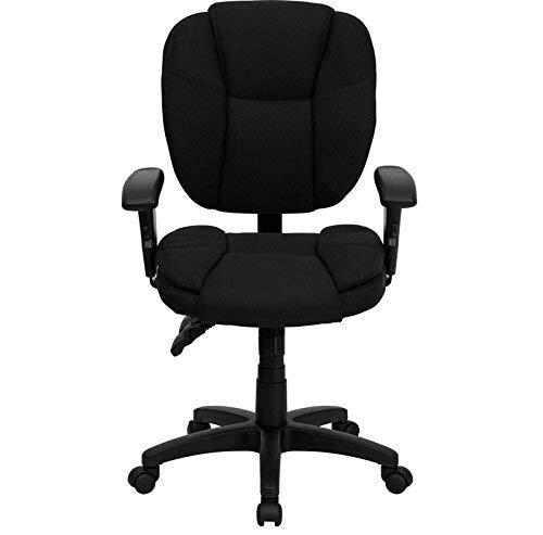 Swivel Multi Task (Flash Furniture Mid-Back Black Fabric Multifunction Ergonomic Swivel Task Chair with Adjustable Arms)