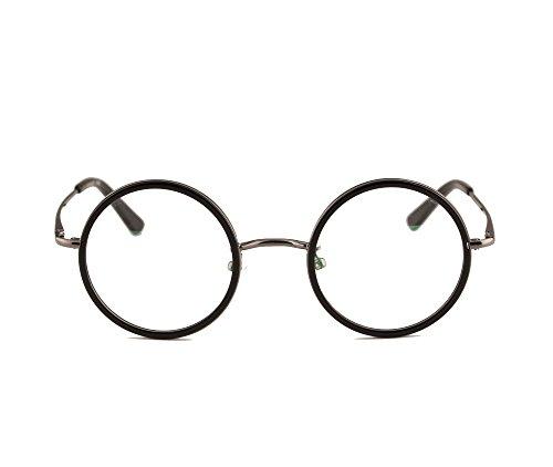 Agstum Vintage Retro Small Round Prescription Optical Eyeglass Frame (Black+Grey, - Frames Potter Harry Spectacles