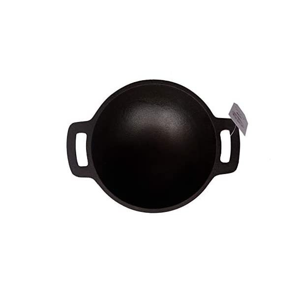 Qualy Investo Traditional Small Cast Iron Kadai Kadhai works for Cooking Small Size (6.8 Inches , 1.2 Kg Weight) Black