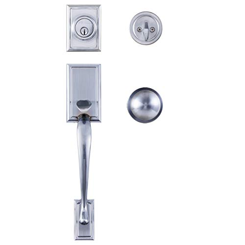 (STAR-BRIGHT Single Cylinder HandleSet with Lever Door Handle (for Entrance and Front Door) Reversible for Right and Left Handed and a Single Cylinder deadbolt Handle Set Satin Chrome Finish)