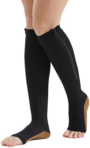 Noblik Compression Stockings Nylon Zipper Compression Sock Leg Knee Support Open Toe Preventing Varicose Veins Stretch Socks(Black) L/XL