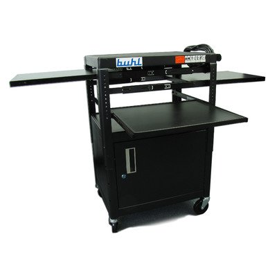 Stationary Media Cabinet - HamiltonBuhl Height adj AV Media cart w/Security Cabinet - Two Stationary Shelves, Laptop Shelf