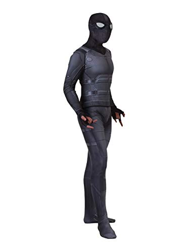 COSEASY Adult and Child Spider Verse Far from Home Zentai Jumpsuit Bodysuit Stealth Black Battle Suit Tights -