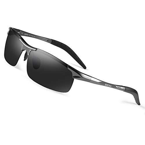 Bertha Mens HOT Fashion Driving Polarized Sunglasses for Men Al-Mg Metal Frame Ultra Light Golf Fishing Sports Sunglasses 8177 (Gun Metal)