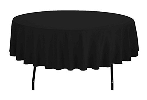 - TEKTRUM 90 INCH ROUND POLYESTER TABLECLOTH - THICK/HEAVY DUTY/DURABLE FABRIC (Black)