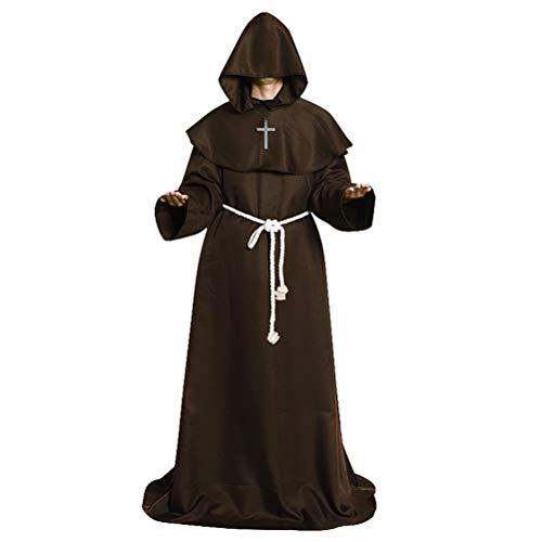 stume for The Medieval Monks Priest Robe Hooded Cosplay Brown XL ()