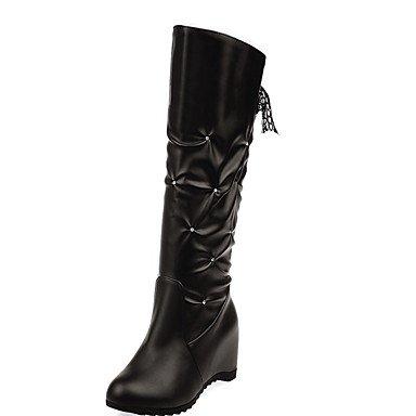 RTRY Women's Shoes PU Leatherette Fall Winter Comfort Novelty Fashion Boots Boots Flat Heel Round Toe Knee High Boots Ribbon Tie For Party & US5.5 / EU36 / UK3.5 / CN35 FuKGi