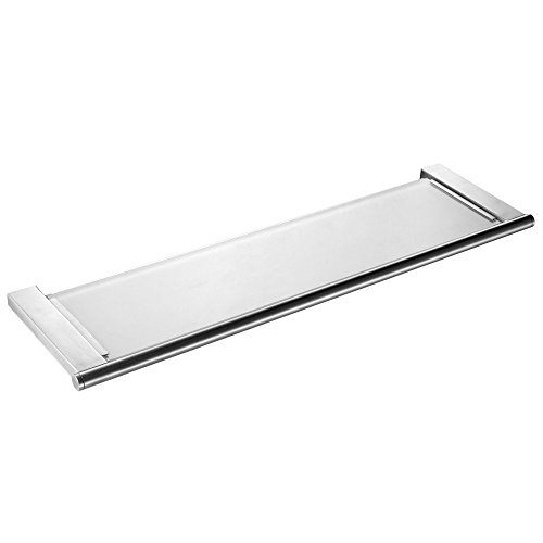 - KES A2720-2 Bathroom Tempered Glass Shelf Wall Mount, Brushed SUS304 Stainless Steel Post