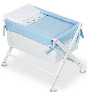 Bimbi Class - Vestidura minicuna, color blanco y azul: Amazon.es: Bebé