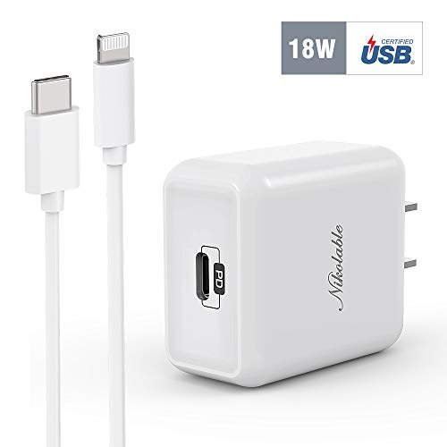 iPhone Fast Charger - Nikolable 18W PD Wall Charger Apple Certified 6FT USB C to Lightning Cable, Power Delivery Adapter Support Quick Charging for iPhone 11 Pro Max XR XS X 8 Plus iPad Pro