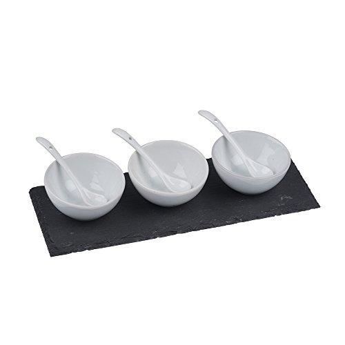 Alpina 871125299325  Snack-/ Party-/Soßen Set - Servierschale, PVC, weiß, 25 x 10 x 48 cm