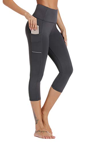 Olacia Womens High Waisted with Pockets Yoga Pants Workout Leggings Athletic Capris Tummy Control Running Pants,Gray,2X-Large