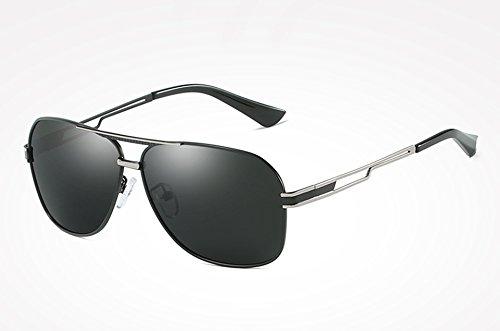 TL de Haute Guide de Sunglasses UV400 pour Rétro Lunettes qualité Lunettes black silver Lunettes Hommes Carrés Tons Hommes gray Masculins Vintage wrwq0g