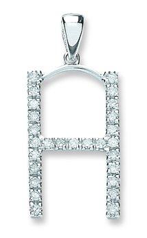 Or blanc 9 carats-Diamant-Pendentif initiale 0.22ct H