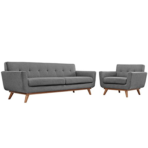 Modway EEI-1344-GRY Engage Armchair and Sofa, Set of 2, Expectation ()