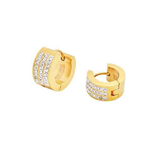 ae1b7575c848c Edforce 18k Gold Plated Women's 3 Rows of 8 AAA Cubic Zirconia Stones  Huggie Hoop Earrings, (7mm x 9mm)