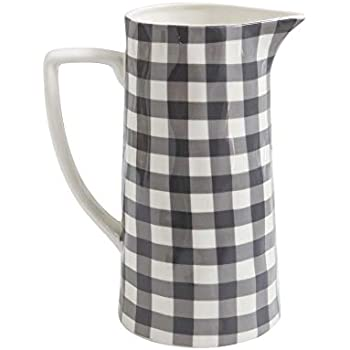 Red Co. Farmhouse Casual Country Glossy Ceramic Stoneware Pitcher, Spouted with Handle, Black Gingham, 64 oz.