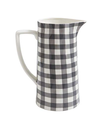 Red Co. Farmhouse Spouted Handled Casual Country - 64 Ounce - Glossy Ceramic Stoneware Pitcher | Black Gingham - 64oz
