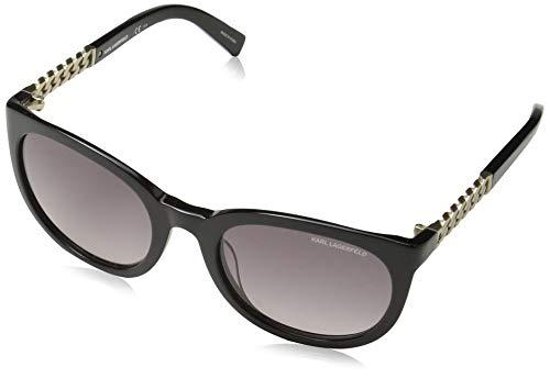 Karl Lagerfeld Women's Oval Sunglasses, Black, 55 mm