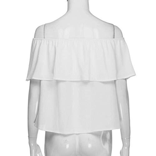 Nues Elgante Spcial Blouse Tops Mode Encolure Jeune paules B Plier Casual Uni Et Manche Blouse Nu sans Mode Chemise Style Manches white Femme Haut Dos Bateau wvqEff7