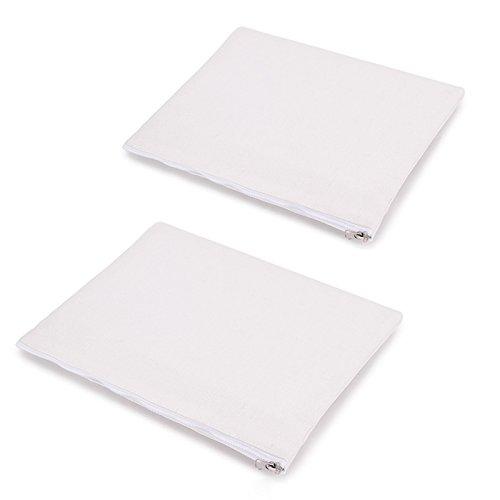 Yingkor 2-Pack Cotton Canvas Zipper Cosmetic Bag Makeup Bags
